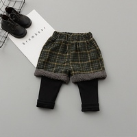 Children Autumn Winter   Baby   Kids Girls Infants Leggings Plaided Woolen Blended Velvet Faux 2pcs Trousers   Pants   Pantalones S7846