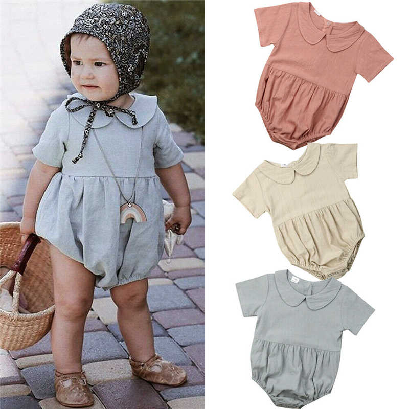 2019 Lovely Baby Girl Infant Solid Peter pan Collar Romper Short Sleeve Jumpsuit Outfits Clothes Summer Baby Clothing 0-18M
