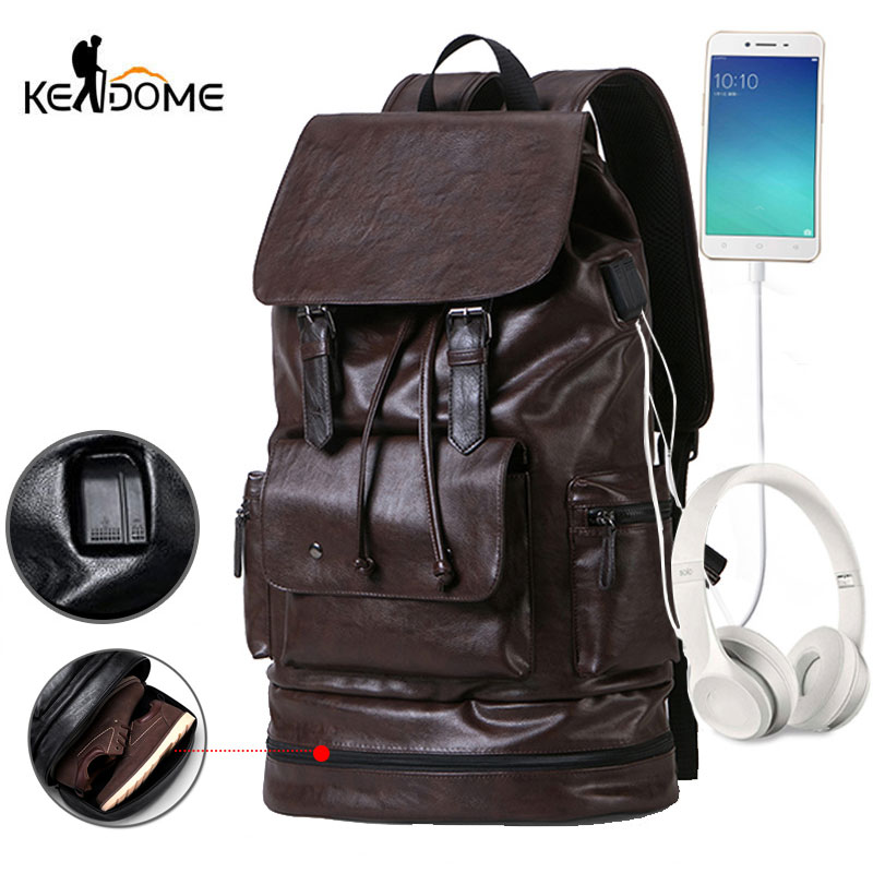 Anti theft USB PU Leather Gym Backpack For fitness Men Training Bag With Shoes Storage Travel
