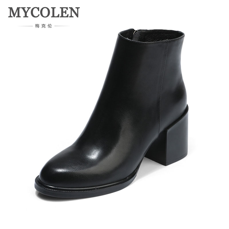 MYCOLEN Black New Fashion High Heels Ankle Comfortable Chelsea Boots Women Autumn Winter 2018 Platform Shoes Woman Botas Mujer jn 17162007jn