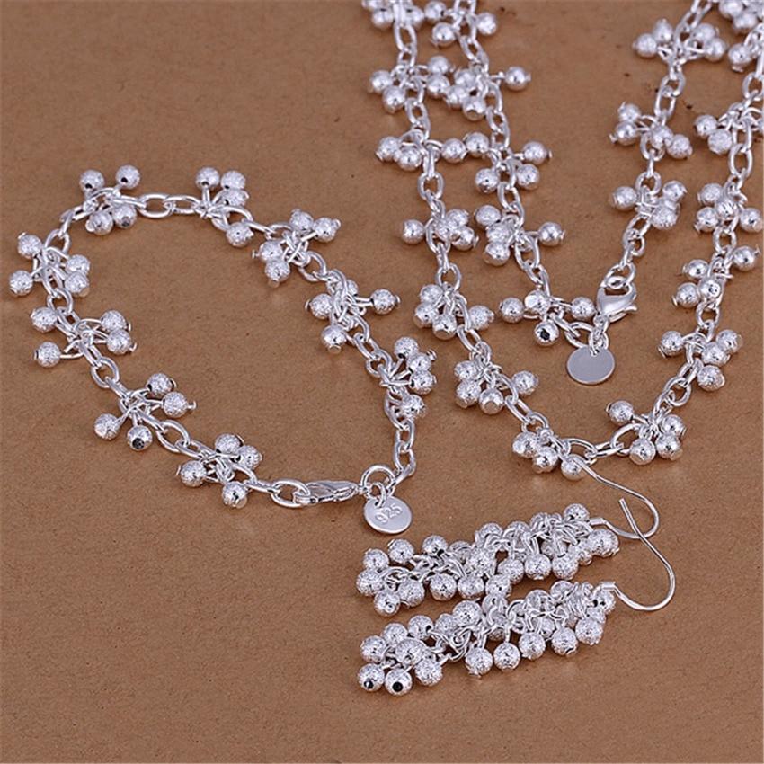 ᗑChaude argent plaqué ensemble de bijoux de mode femme style ... bf64243917a