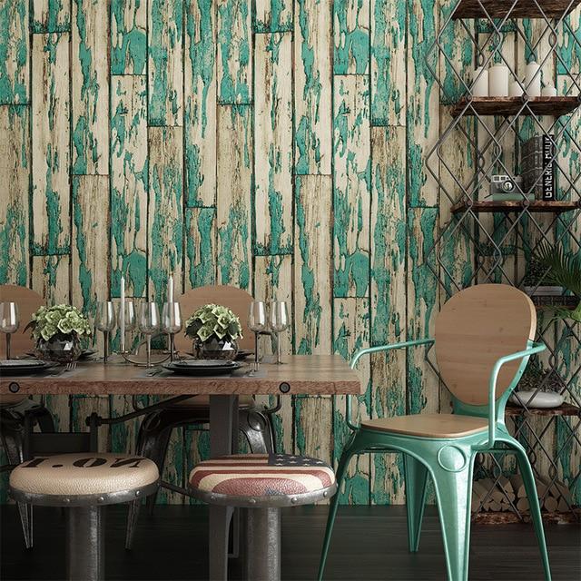 American retro 3d three dimensional thick wallpaper chinese imitation wood grain coffee shop clothing shop