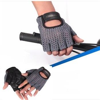 цена на Fashion Genuine Leather Half Finger Gloves Men  Women Handmade Knit Gloves Driving Outdoor Sports A088