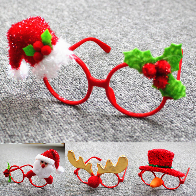Fashion Spectacle Christmas Ornaments Glasses Frames Decor Evening