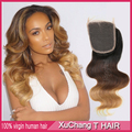 Malaysian Lace Frontal Ombre Malaysian Body Wave Closure 4*4 Inch Human Hair Weave Three Tone Ombre Hair Extensions Free Part