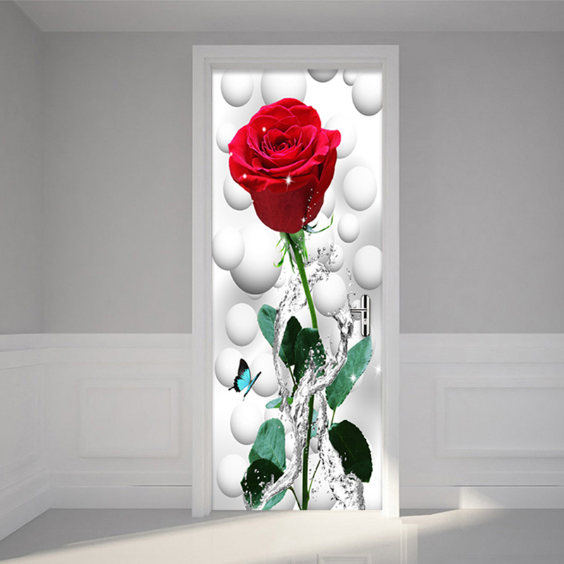 Modern Simple Red Rose Flower Wallpaper 3D Wall Door Mural PVC Self-Adhesive Waterproof Living Room Bedroom Wallpaper Sticker 3D 3d door sticker livingroom bedroom wall decoration paris eiffel tower pvc waterproof self adhesive door stickers wallpaper mural