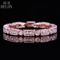HELON Solid 10K Rose Gold Unique Full Eternity Band Natural Diamond MillgrainAnniversary Match Ring Engagement Wedding