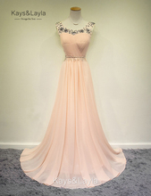 Sexy Perlen Abendkleider 2016 A-Line Chiffon O-ansatz Sleeveless Partei Abend Grown vestido de festa Sommer Stil