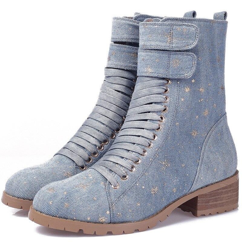 Femmes Hauts D'hiver Talon De Occasionnels Dames Jeans Dans Bottes Chaussures Bottines Bleu 2018 Boot Bas Cheville Talons XuPOkZi