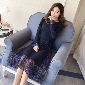 Image 2 - 2019 Autumn and Winter Floral Chiffon Knitted Nursing Dress For Pregnant Women Sweater Long sleeve Maternity Breastfeeding Dress