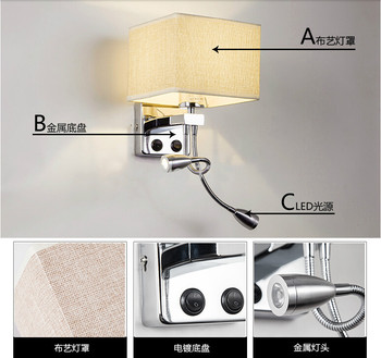 New Flexible Hose LED Wall Lamps 2w Silver with sackcloth white/black/beige lamp shade Bedside Reading Light Study Wall Lighting