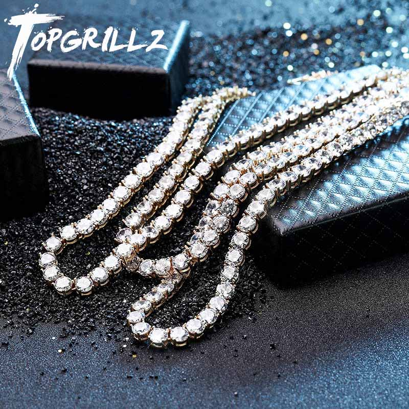 Novo 925 prata esterlina 4mm 6mm colar masculino bling cz iced para fora hip hop link tênis corrente prata colar de ouro jóias para o presente