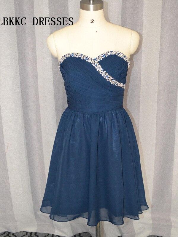 Sweetheart Navy Blue   Cocktail     Dresses   Knee Length Chiffon With Beaded Vestidos De Coctel Elegantes