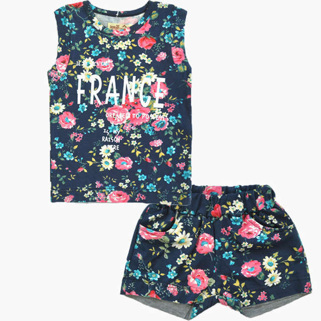 2017 summer big sale baby girls floral sleeveless sets t-shirt+shorts suits kids clothing baby girls summer suits sleeveless vest shirt cute floral harem pants floral sets