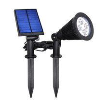 Solar Powered 4 LED Seperated Spot Light Waterproof Outdoor lighting Wall Light Security Path Lights/ Landscape Flag Pole lamps