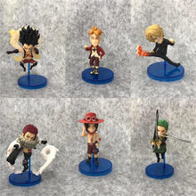 6pcs/Lot One Piece LLuffy Gear 4 Zoro Sanji Charlotte Katakuri Ace Marco PVC Action Figure OP Collectible Model Toy 7-11cm(China)