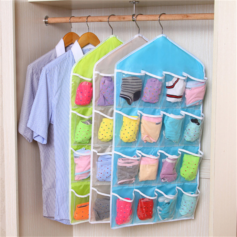 Super kemudahan 16 grid Storage Bags Space Saver Organizer Closet Storage underwear sock Storage Bag