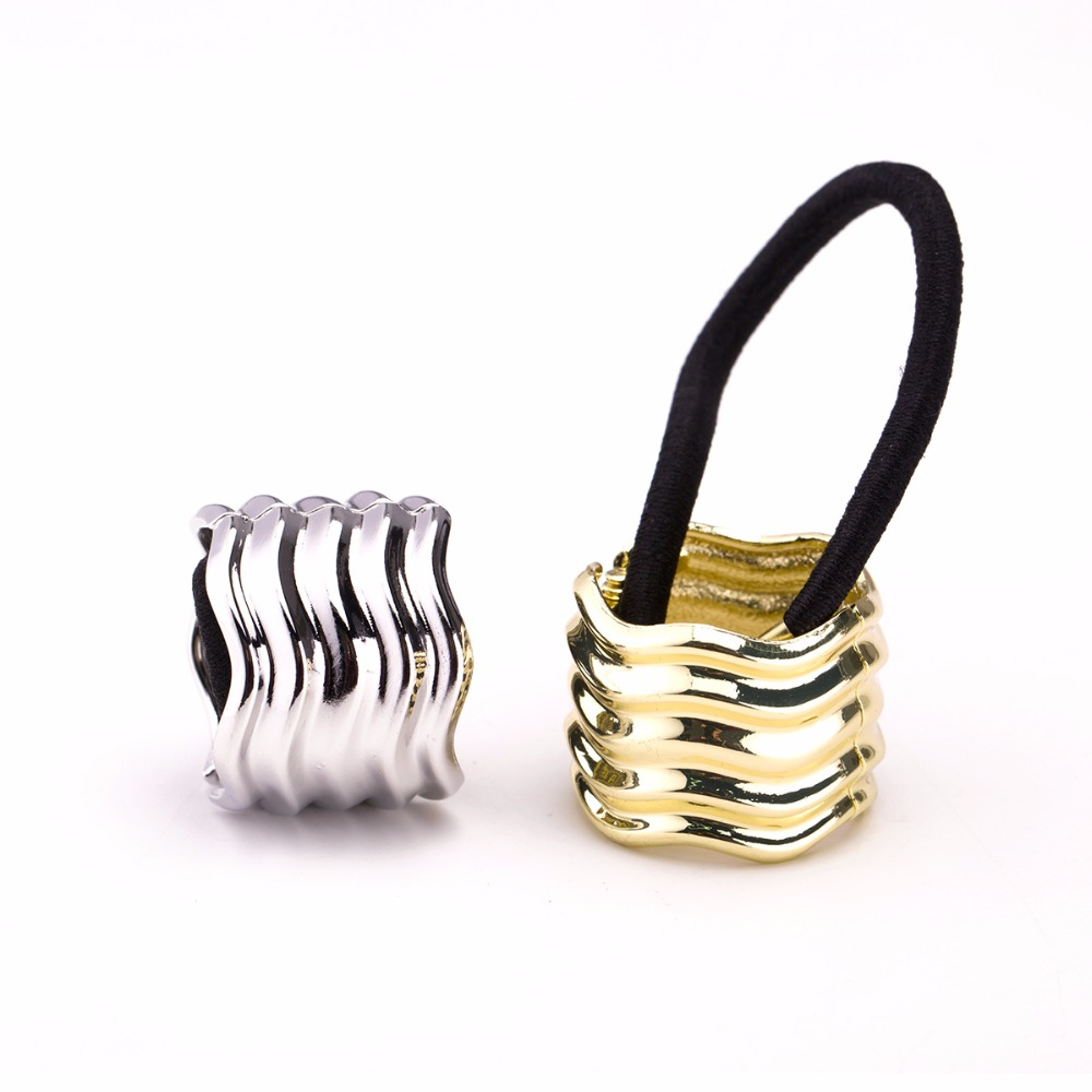 Punk Metal Hair Cuff Stretch PonyTail Elastic Rope Band Hair tie Holder Ring 1c008ca1b90