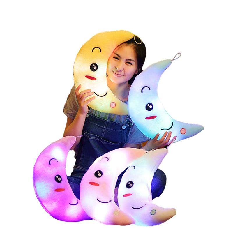 Moon Pillow Plush Toys Cute Luminous Pillow Toy Led Light Pillow Glow in Dark Plush Pillow Doll Toys for Children Kids YYT219