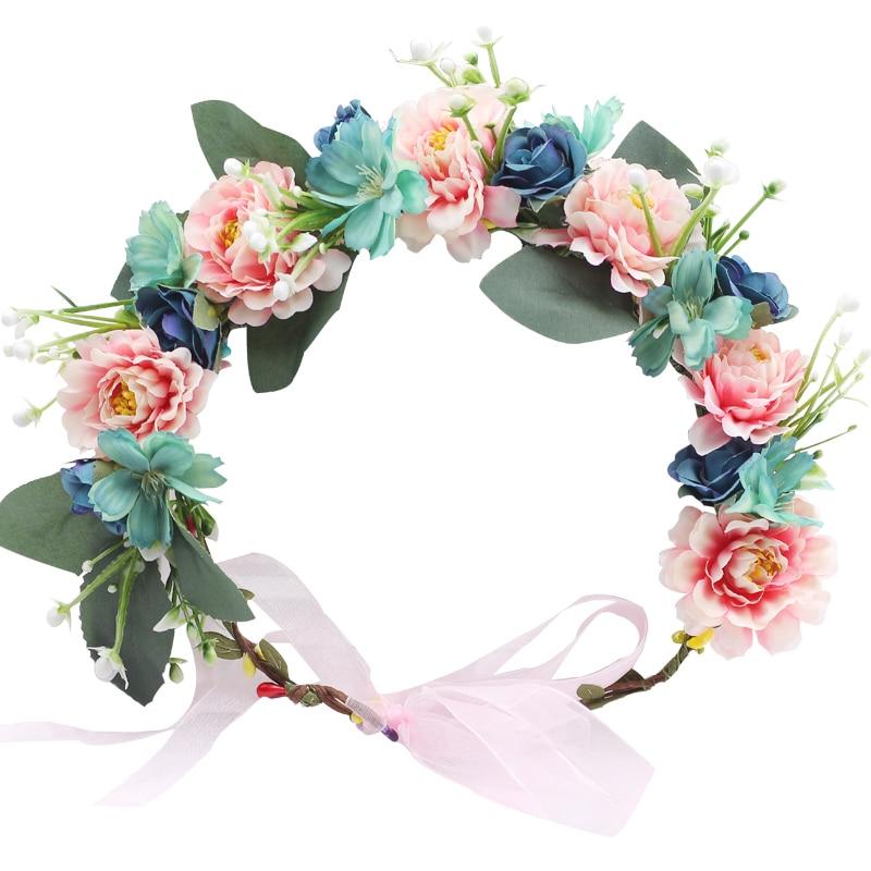 Charm Garland Wedding Hairband Flowers Girls Ribbon Floral Rose Hair Wreath Q
