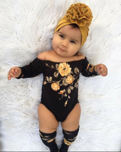 Summer Cute Toddler Kid Newborn Baby Girl Infant Cool Black Off Shoulder Flower Romper Jumpsuit Leg Warmers Outfits Clothes Sets Bodysuits Aliexpress