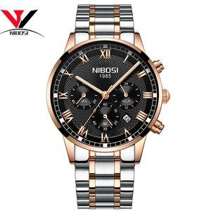 Image 2 - Nibosiメンズスポーツ腕時計メンズ防水高級ブランド腕時計2019ファッションフルスチールアナログクォーツ腕時計レロジオmasculino