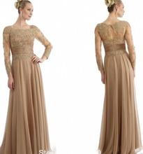 Gold Spitze Mutter Der Braut Kleid Elegante Partei Abendkleid A-Line Mutter Kleid Mit Lange Dreiviertel Chiffon Kleid