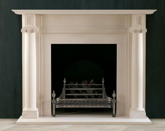 Stone Fireplace Mantel Marble Surround Simple English Style With Roman Ionic Pillars