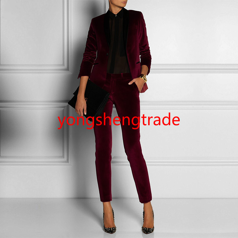 Fashion Wine Red Velvet Women Ladies Business Office Tuxedos Formal Work Wear Accept Custom Made 123