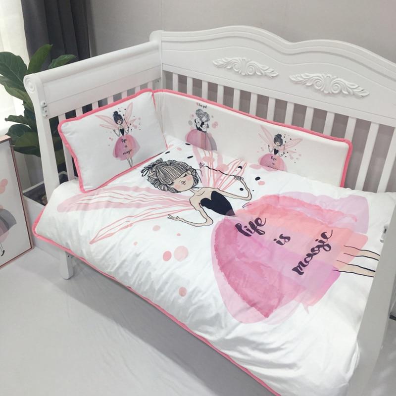 4 шт. Комплект постельного белья бампер фланелевый мультфильм шаблон одеяло для новорожденных крышка простыня наволочка детская кроватка бампер Детский Комплект постельного белья