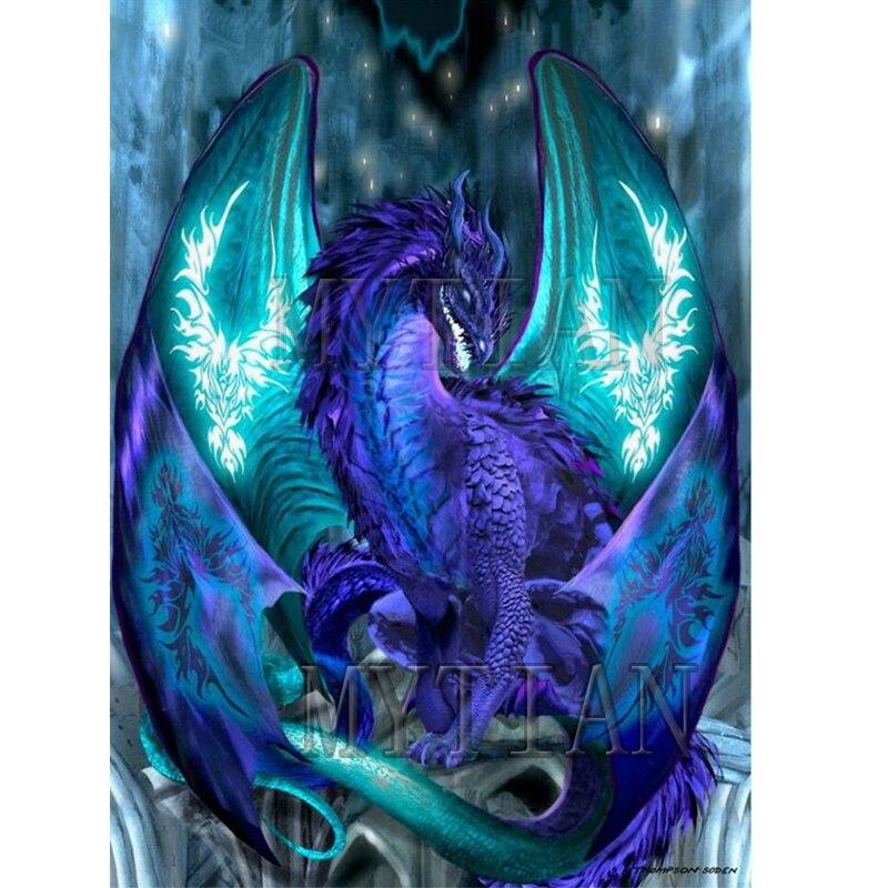 5d Violeta Diy Dragão Animais Pintura Diamante Pintura Diamante Bordado Cheio Quadrado e rodada Broca Needlework Artesanato Parede