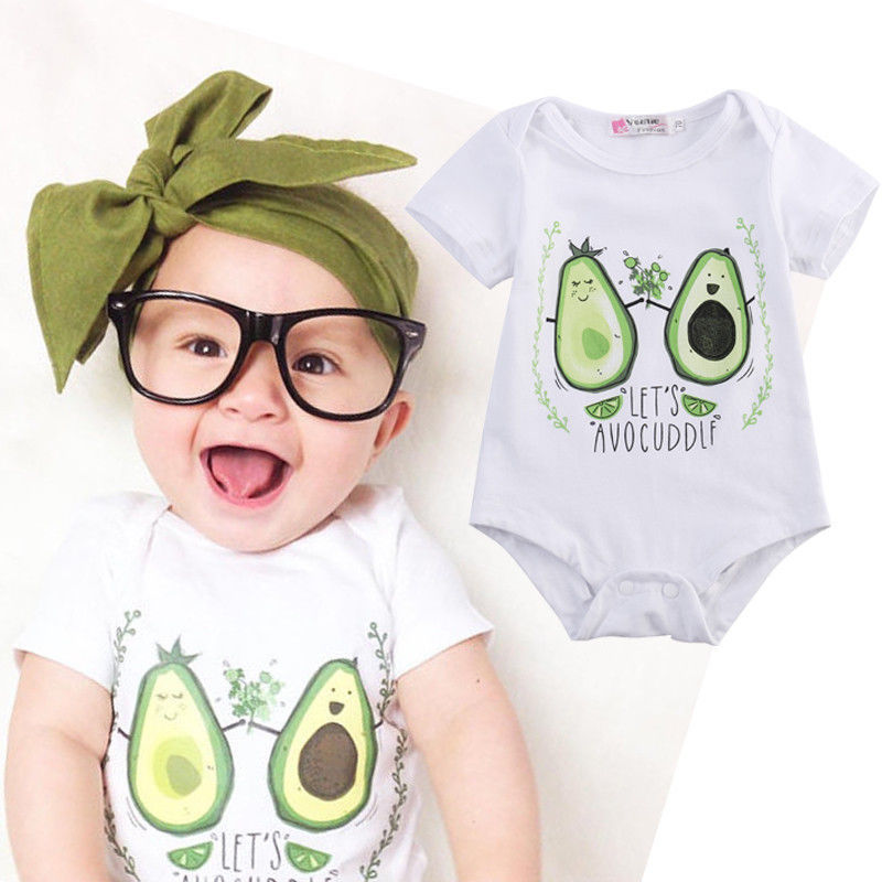 Hot Cute 0-24M Newborn <font><b>Baby</b></font> Girls Boys Clothes <font><b>Body</b></font> <font><b>Baby</b></font> Romper Cotton Cartoon Avocado Jumpsuit Playsuit Summer Casual Outfits image