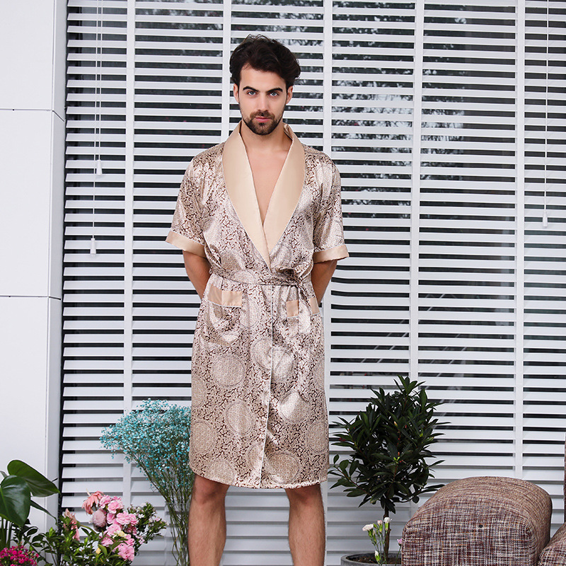 CEARPION Men Satin Bathrobe Plus Size 5XL Sleepwear Long-sleeved Kimono Bath Robe Gown Men Silky Nightgown Print Pyjama