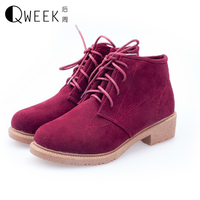 QWEEK Autumn/winter Women High Heel Martin Boots Middle Heels Ankle Platform Boots Pu Leather Suede Shoes Round Toe Women high quality genuine leather square heels martin boots for women round toe platform winter rhinestone snow martin boots