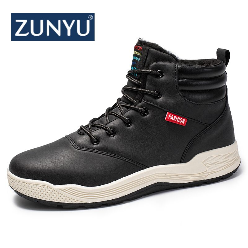 цена ZUNYU Big Size 39-47 New Winter Mens Boots Men Casual Fahsion Snow Men Ankle Boots Men Boots For Men Shoes With Fur Keep Warm