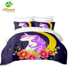 цена Girls Cartoon Bedding Set Unicorn Print Duvet Cover Set Moon Colorful Flowers Print Bed Cover Pillowcase Home Decor D25 в интернет-магазинах