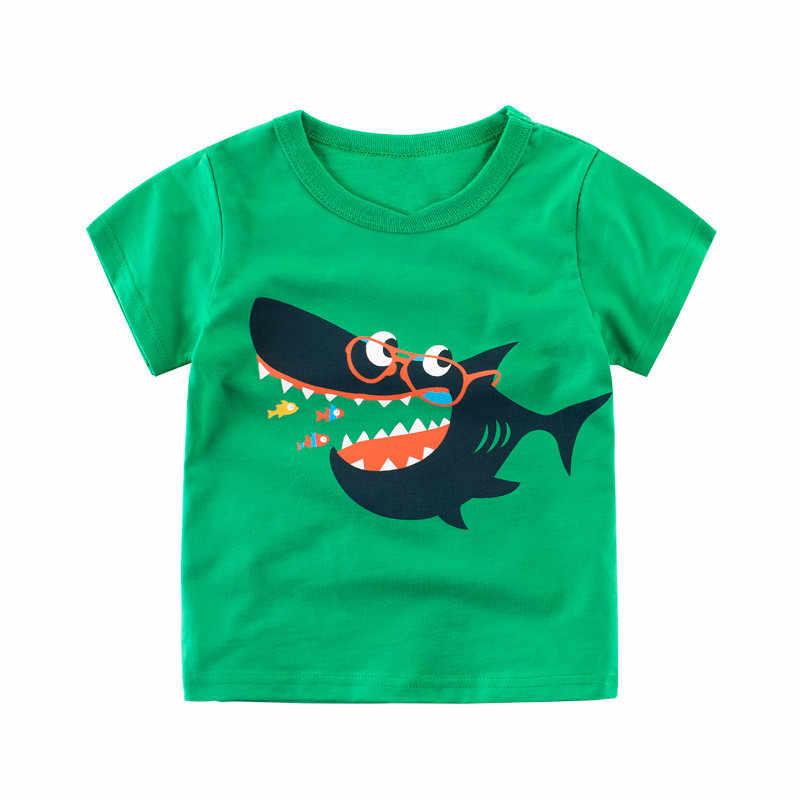 Новая летняя одежда для детей Детская футболка для мальчиков хлопок динозавра футболка с короткими рукавами Повседневное Спорт От 2 до 8 лет рубашки