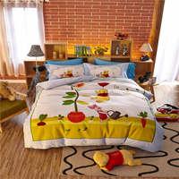 disney cartoon winnie pooh bedding sets kids home textile autumn winter bedspreads 3D bed linens boys queen size bed set 4pc