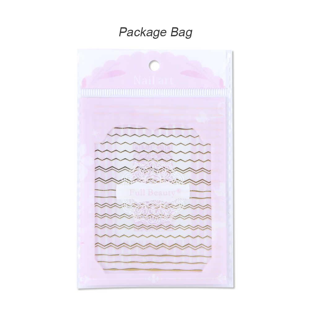 1Pcs Emas Perak Slider 3D Stiker Kuku Lurus Melengkung Liner Stripe Tape Membungkus Geometris Paku Seni Dekorasi BESTZG001-013