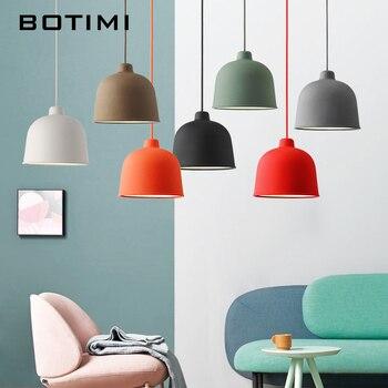 Цветные светодиодные подвесные светильники BOTIMI для столовой, абажур из смолы, зеленый E27, освещение для кухни, серый светильник для ресторан...