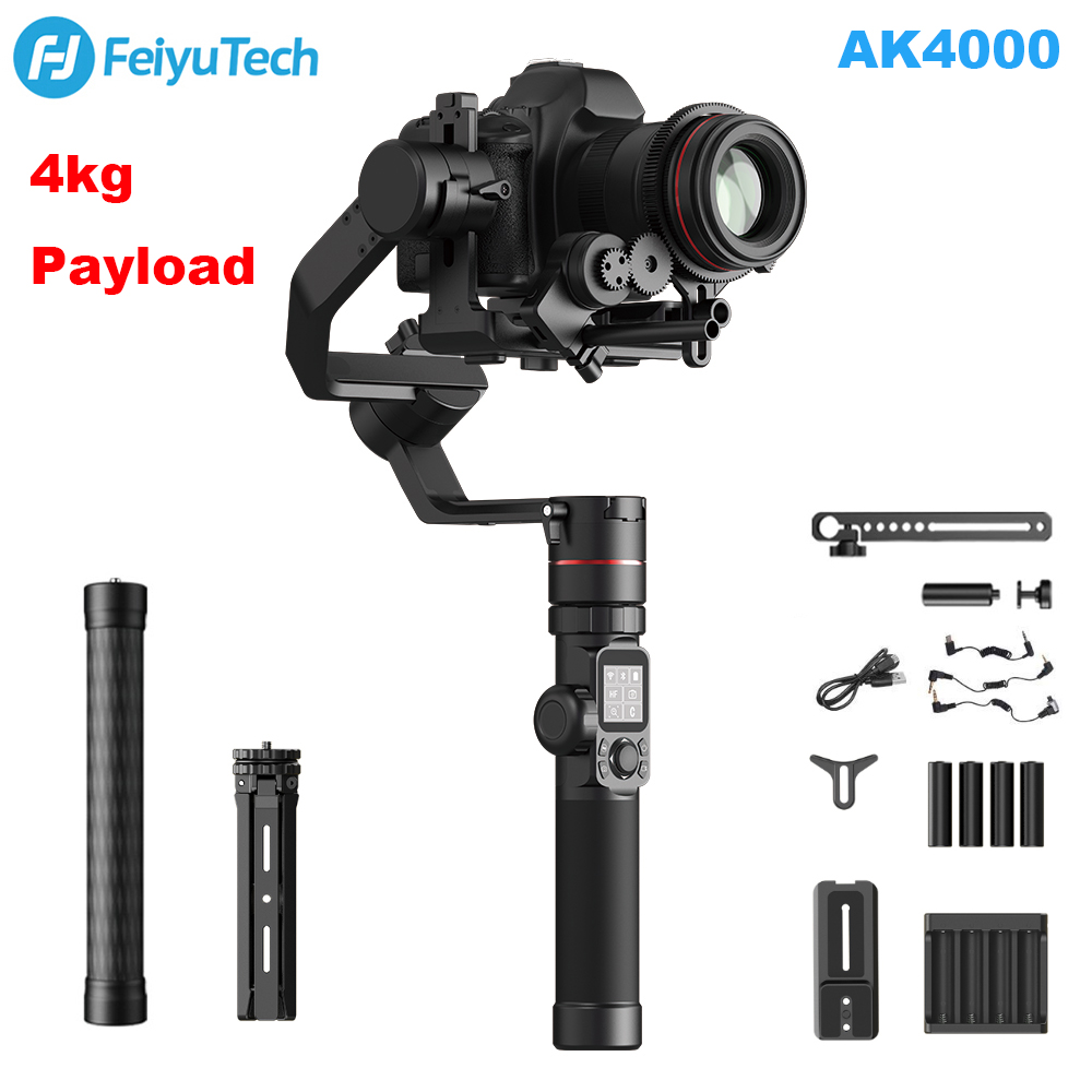 FeiyuTech AK4000 3-Axis Camera Handheld Gimbal Stabilizer with Focus Ring 4kg Payload for Sony Canon 5D Panasonic GH5 Nikon D850 feiyutech feiyu ak2000 3 axis handheld camera stabilizer 2 8kg loading gimbal for sony canon 5d 6d mark panasonic gh5 nikon d850