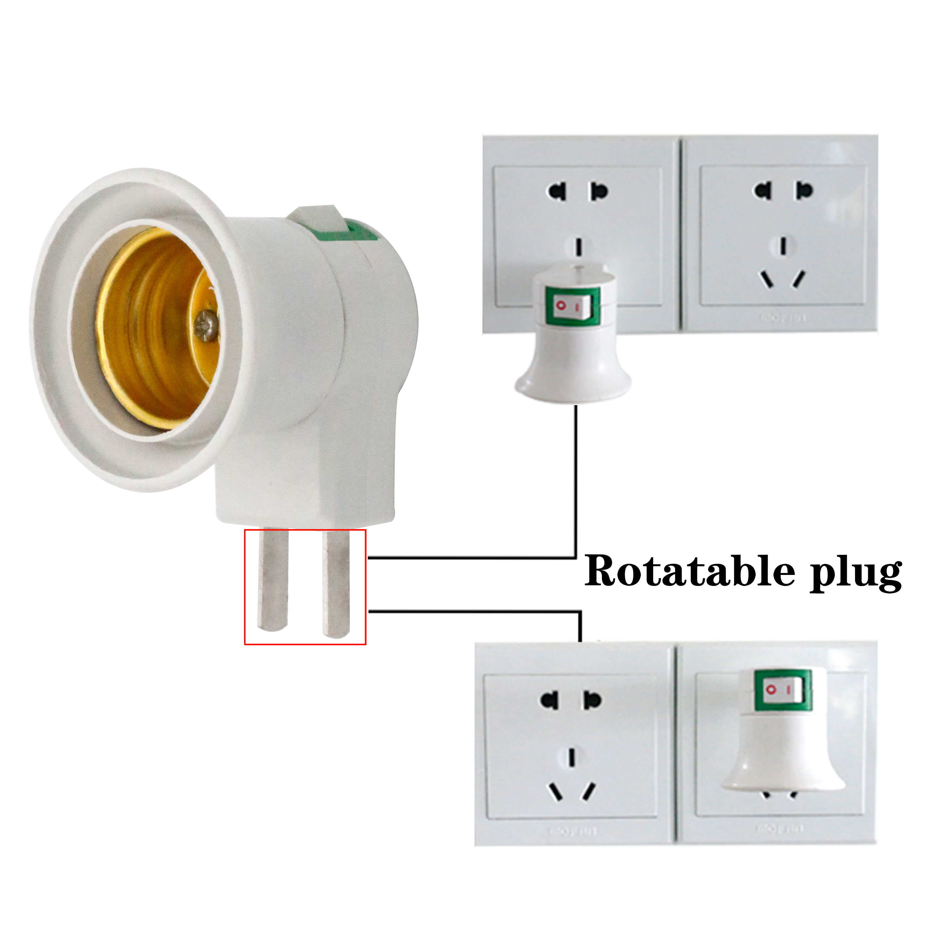 E27 Female Socket Plug AU Adapter With Power On-off Control Switch