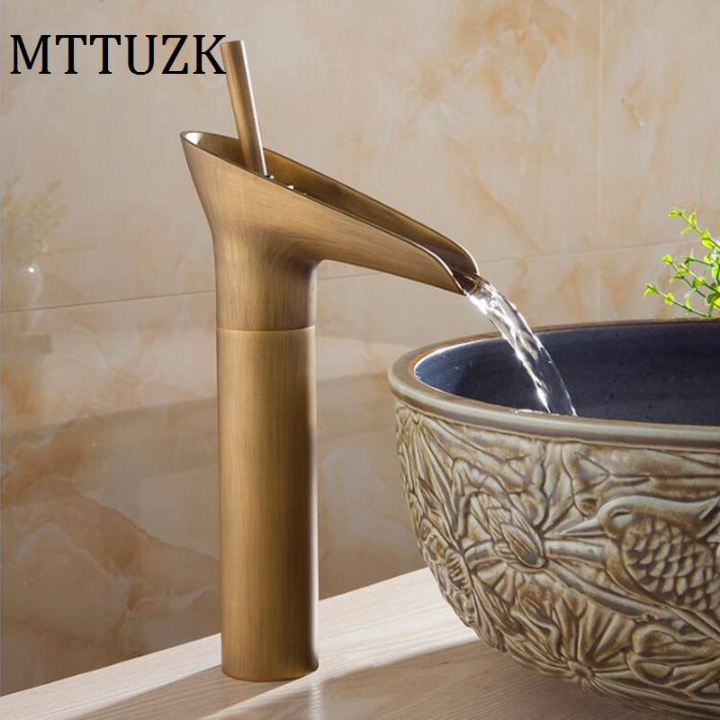 ФОТО MTTUZK Free Shipping! Antique Brass Waterfall Bathroom Faucet Single Handle Vanity Sink Mixer Tap Deck Mounted Wine Glass Faucet