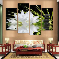 Banmu 4 pieces canvas print for home flower white lotus in black wall art picture modern.jpg 250x250