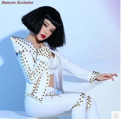 Со стразами пикантные Комбинезоны для малышек костюм Bling Для женщин наряд празднование DJ белый Панк DS Заклёпки певица носить сексуальное Ко...