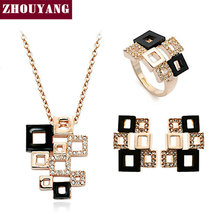 ZHOUYANG ZYS034 Geometric Figure Rose Gold Color Elegance Jewelry Necklace Earring Set Made with Austrian SWA Element Crystals(China)