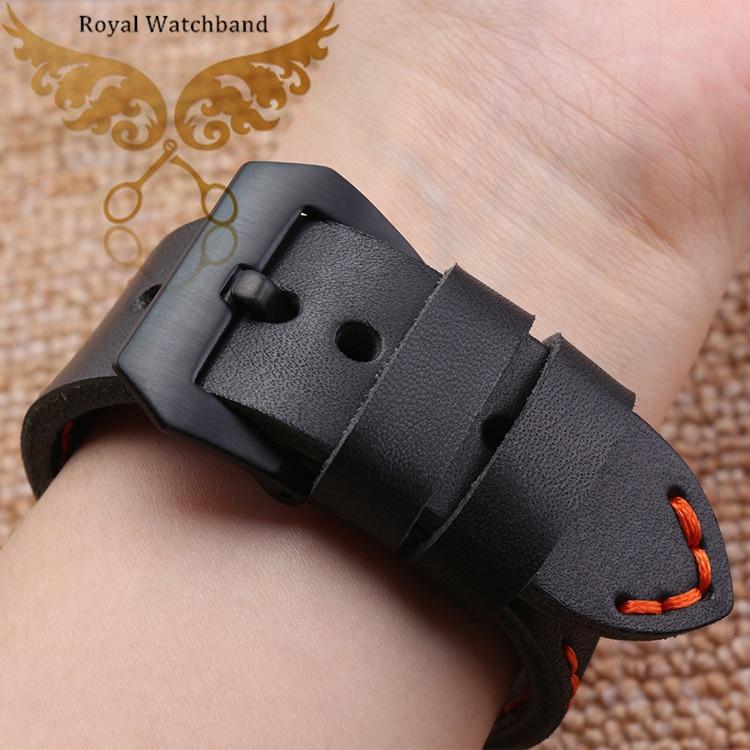 22mm 24mm Black Leather Strap Black PVD Deployment Buckle Watch Band Orange Stitch Bracelet