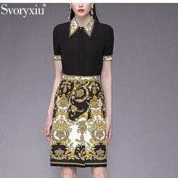 Svoryxiu frauen Sommer Designer Rock Anzug Kurzarm Schwarz Bluse + Gold Gedruckt Röcke Elegante Büro Dame Zwei Stück set