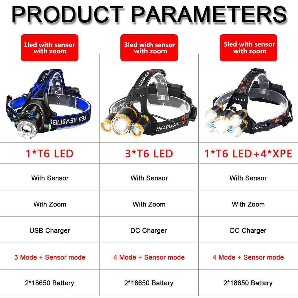 T6 Süper Parlak Sensörü Far 50000LM ile Su Geçirmez Far Taşınabilir LED fener Kafa Lambası baş feneri Başkanı işık tarafından 18650
