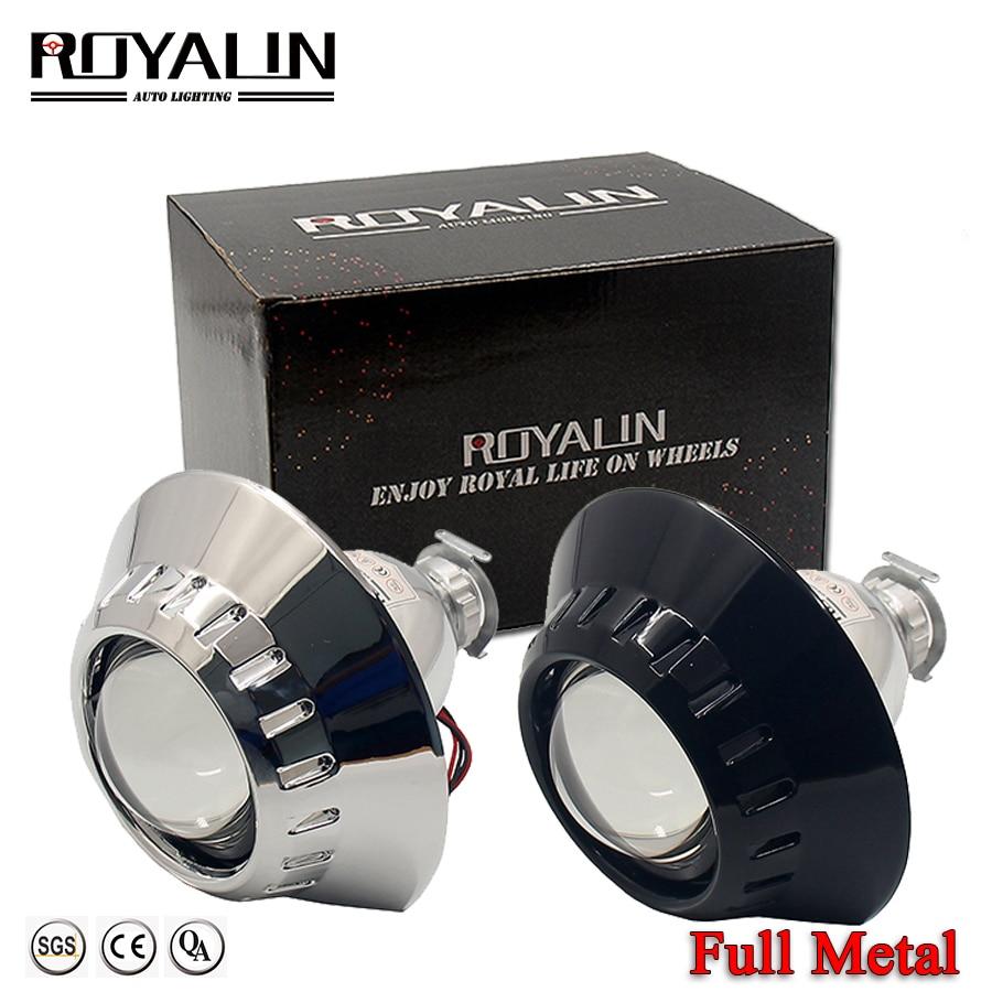 ROYALIN Mini Bi Xenon HID H1 Projector Lens W/ E46-R Extended Shrouds For BMW M3 E90/E91/E92/E93 ZKW E46 Compact H1 H4 H7 Lights